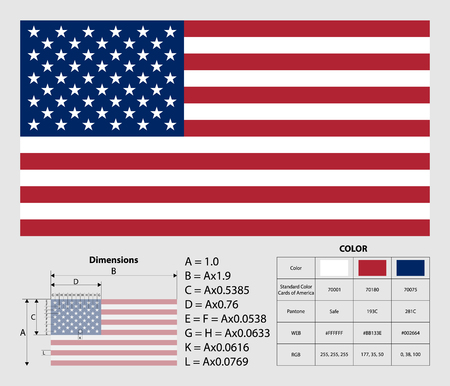 American flag with exact dimensions. USA flag. Official colors and proportion correctly. National United State of America flag. Vector illustration. Ilustrace