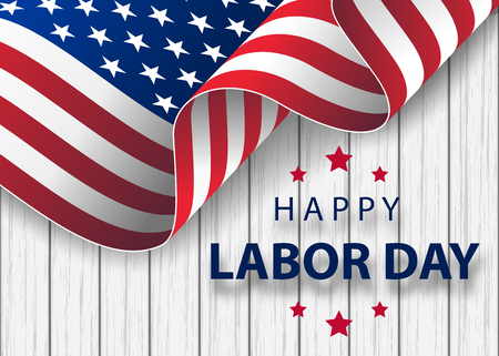 ondeando la bandera estadounidense con tipografía Día del Trabajo, 7 de septiembre. Banner de vacaciones feliz día del trabajo con fondo de trazo de pincel en colores de la bandera nacional de Estados Unidos y diseño de texto de letras a mano.