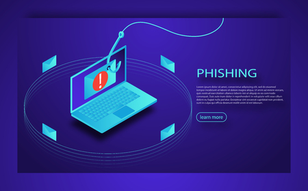 Login into account in email envelope and fishing hook. Phishing scam, hacker attack and web security concept. Internet phishing, hacked login and password.