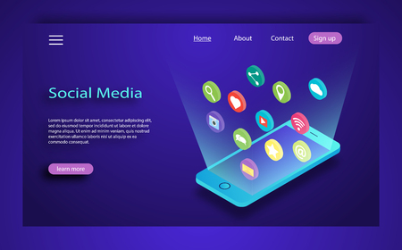Social media concept vector illustration. Desktop, chat, video, camera, phone. Flat web illustration infographics collection. Social influencer concept. Media content to grab like from social audience