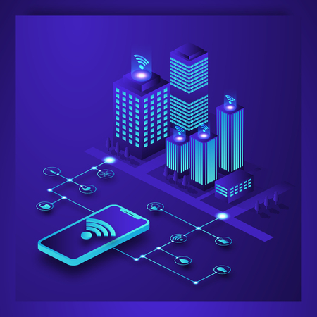 Smart city or intelligent building isometric vector. Smart building Isometric concept. Automation control system of intelligent building Engineering systems, video surveillance. 3D smart building.