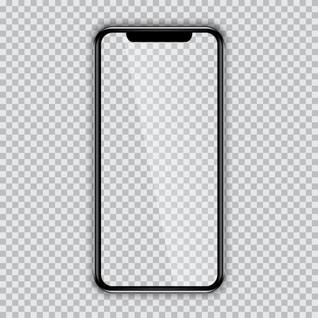 Black phone mock up with blank screen on transparent background. New version of high detailed realistic smartphone on transparent background. Front view display.
