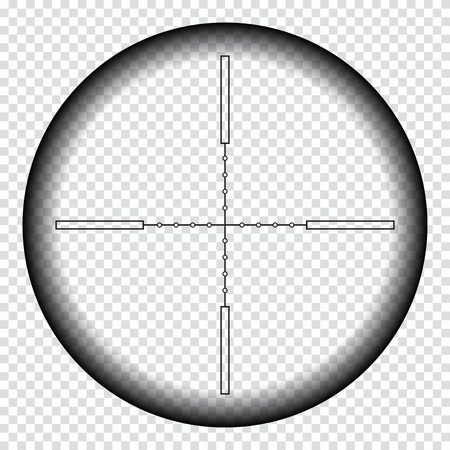 Realistic sniper sight with measurement marks. Sniper scope template isolated on transparent background. Sniper scope crosshairs view. Realistic optical sight. Ilustração Vetorial