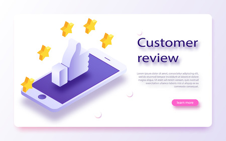 Customer review concept. Feedback, reputation and quality concept. Hand pointing, finger pointing to five star rating. Customer review, Usability Evaluation, Feedback, Rating system isometric concept.