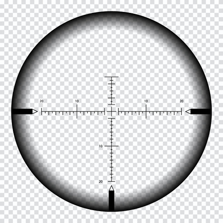 Realistic sniper sight with measurement marks. Sniper scope template isolated on transparent background. Sniper scope crosshairs view. Realistic optical sight. Stock Illustratie