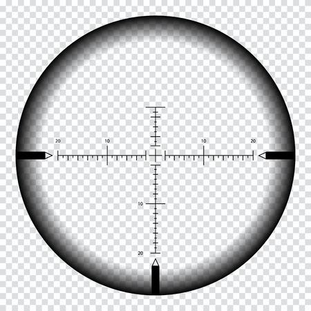Realistisches Scharfschützenvisier mit Messmarken. Scharfschützenbereichsvorlage lokalisiert auf transparentem Hintergrund. Fadenkreuzansicht des Scharfschützenfernrohrs. Realistisches optisches Sehen.