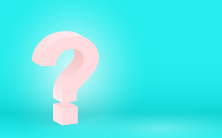 High detailed 3D pink question, vector illustration. Big pink question mark on a blue background Illustration