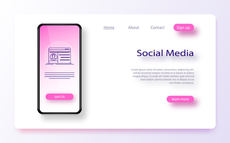 Website template for websites, or apps. User experience, user interface in e-commerce. Social media. Flat design modern vector illustration concept. Landing page website wireframe interface template.