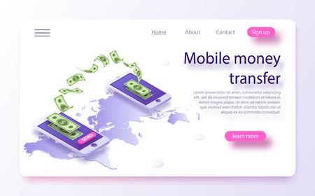 Ilustración de vector isométrica de transferencia de dinero móvil. Transferencia de dinero desde y hacia la billetera en diseño vectorial isométrico. Flujo de capital, ganar o ganar dinero. Concepto de transferencia de dinero en línea