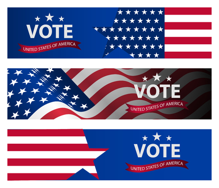 Presidential election banner background. US Presidential election 2020. US midterm elections 2018: the race for Congress.  Democracy campaign. Vote Republican Midterms.