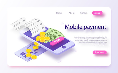 Isometric online payment online concept. Electronic bill, online payment sms notification, pay history, finance data protection, smartphone with credit card. Concept mobile payments