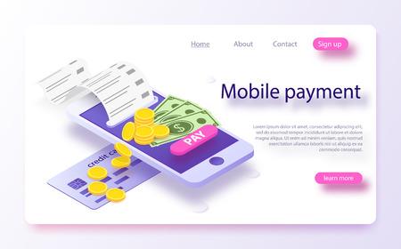 Concepto en línea de pago en línea isométrico. Factura electrónica, notificación de sms de pago en línea, historial de pagos, protección de datos financieros, teléfono inteligente con tarjeta de crédito. Pagos móviles concepto