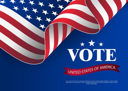 Elezioni al Senato degli Stati Uniti nel 2018. Modello per le elezioni negli Stati Uniti. Priorità bassa della bandiera di elezione presidenziale. Priorità bassa della bandiera di voto presidenziale. Illustrazione di vettore di concetto di voto USA.