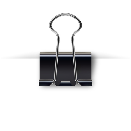 Binder clip for paper design. Realistic metallic black paper clip with shadow from a sheet of paper. Clamping device black color. Realistic 3d metal paperclips on white background 矢量图像