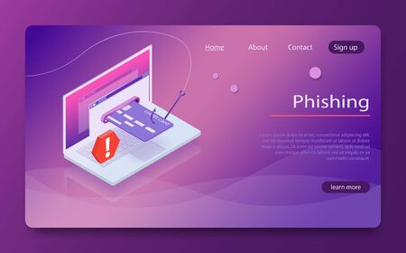 Isometric laptop credit card cvv password phishing. Internet hacker attack and personal data security concept. Hacker attack, web security vector concept, phishing scam. Anti virus, spyware, malware.