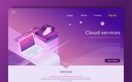 Isometric cloud computing services concept. Concepts Cloud storage. Concept of  big data processing center, cloud database. Internet datacenter connection, administrator of web hosting concept.