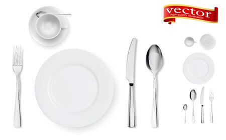 Set of fork, knife, cup, plate and spoons isolated on white. Isolated realistic set of table dining setting of silver or metal steel spoon, fork and knife cutlery around empty dish plate