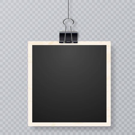 Retro realistic frame placed on transparent background. Realistic vector photo frame with straight edges on sticky tape placed vertically. Picture frames with shadow hanging with paper clip