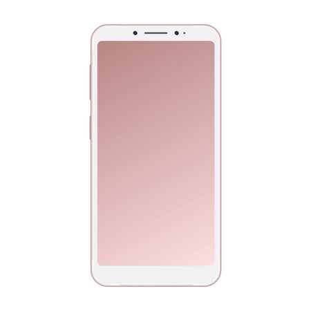 Realistic pink smartphone isolated on white background. Smartphone mockup with blank screen. Pink vector frameless smart phone, cellphone isolated on white background