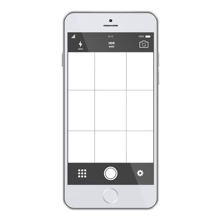 Mobile camera interface template background. Screen of smartphone with camera interface. Smartphone with camera app screen. Modern smartphones photo application template.