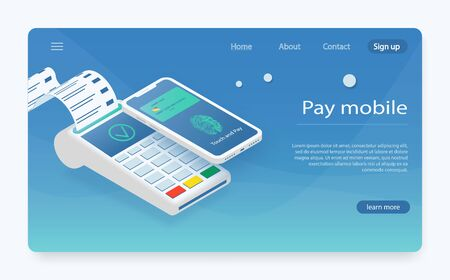 Customer paying with NFC technology. mobile payment ,online shopping concept.  Pay fees wireless via nfc. Vector illustration of mobil payment via smartphone. NFC payments concept. Stock Illustratie