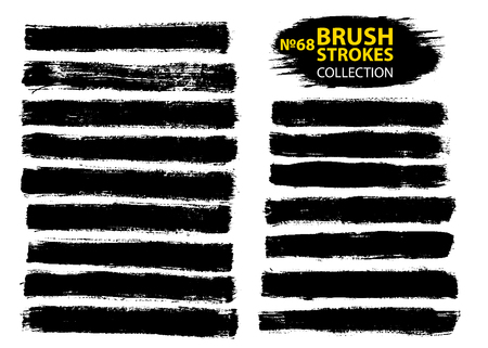 Vector make-up cosmetic mascara brush stroke texture design. Large set different grunge brush strokes. Dirty artistic design elements isolated on white background. Black ink vector brush strokes