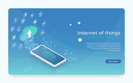 Internet of things (IOT), devices and connectivity concepts on a network, cloud at center. loud storage data and synchronization of devices. Cloud computing technology users network configuration
