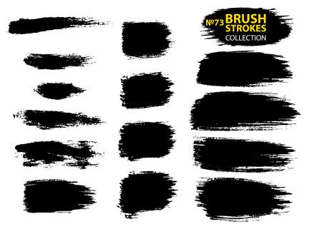 Vektor Make-up kosmetische Mascara Pinselstrich Textur Design. Große Reihe von verschiedenen Grunge-Pinselstrichen. Schmutzige künstlerische Gestaltungselemente lokalisiert auf weißem Hintergrund. Vektorpinselstriche mit schwarzer Tinte