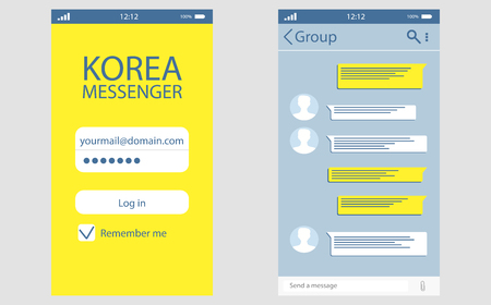 Kakaotalk messenger Korean application for users vector. Kakao talk interface with chat boxes and icons vector message template