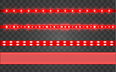 Set LED realistic red ribbon on a transparent background. Neon or led glowing light stripes with glare and light flashes. LED neon Garlands decorations template on a transparent background