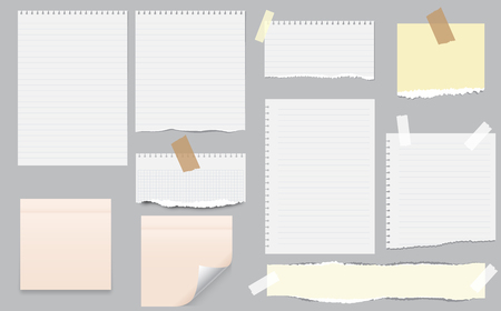 White and colorful note, notebook paper with torn edges stuck on gray background. Pink sheets of note papers, sticky notes.  Ripped Paper Page Set, Torn Edge