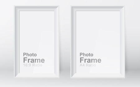 Realistic picture frame isolated on white background. 3D picture frame design vector for A4 and 16:9 ratio. Vector of Blank Photo Frame, Template mock up for display or montage of your content.