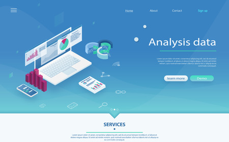 Big data report, data statistics on screen of laptop. Data analysis server isometric vector illustration. Big data report, data statistics on screen of laptop. Online statistics and Analytics.