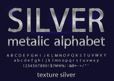Set of Elegant silver Colored Metal Chrome alphabet font. Typography classic style silver font set for logo, Poster, Invitation. Technology alphabet silver metallic.
