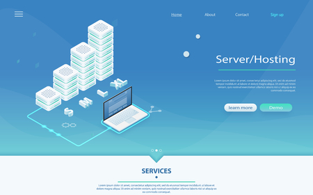 3d servers and data center connection network. Big data flow processing concept, cloud database, isometric vector, web hosting, server room. Concept of server hosting, big data processing, data center
