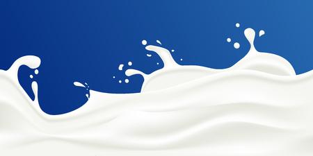 Milk splash vector illustration on a blue background. Rippled wavy milk. Beautiful background. Realistic design. Tasty milk design element Иллюстрация