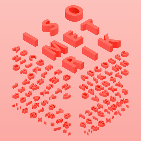 3d font color Living Coral, Three-dimensional alphabet. Isometric alphabet font. 3d effect letters, numbers and symbols. Isometric Trendy Font. Isometric 3d font, three-dimensional alphabet letters.