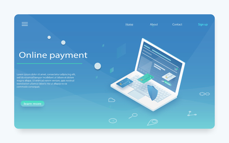 Pay history, finance data protection, laptop with credit card and shield isometric. Flat vector concept of receipt, online payment, money transfer. Concepts mobile payments, personal data protection.