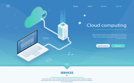 Concept of data network management. Big data flow processing concept, cloud database. Concepts Cloud storage. Cloud computing technology users network configuration isometric with laptop.