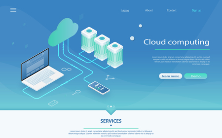 Cloud computing technology users network configuration isometric advertisement poster with laptop. Cloud Computing Concept. Online Computing Storage 3D isometry. Cloud data storage 3d illustration