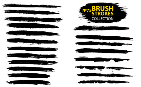 Large set different grunge brush strokes. Dirty artistic design elements isolated on white background. Black ink vector brush strokes. Black isolated paintbrush collection. Brush strokes isolated