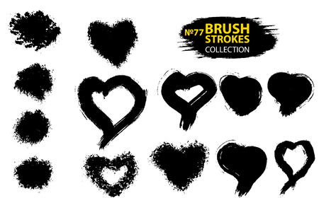 Large set different grunge brush strokes. Abstract black hearts. Black ink vector brush strokes. Black isolated paintbrush collection. Brush strokes isolated. Vector design element for Valentines day