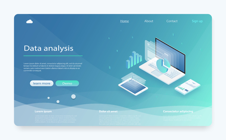 Data analysis, information searching, data center query, search engine optimization. Online statistics and data Analytics. Isometric Analysis data and Investment. Data visualization concept.