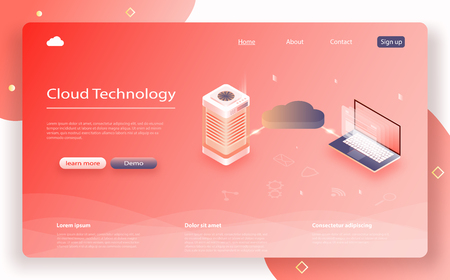 Isometric modern cloud technology, networking concept. Online computing technology. Cloud data storage. Cloud Computing Concept. Concept of data network management. Color of the year 2019 Living Coral Ilustração