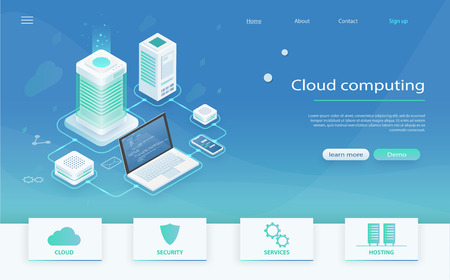Isometric modern cloud technology, networking concept. Online computing technology. Cloud data storage. Cloud Computing Concept. Concept of data network management. Digital service and online storage.