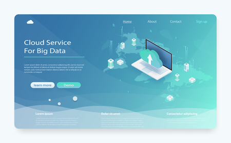 Isometric modern cloud technology and networking concept. Cloud storage download isometric vector illustration. Hosting servers or datacenter background. Cloud data storage 3d isometric illustration