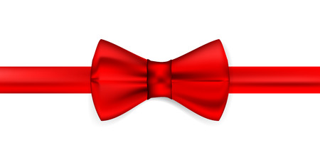 Silk red ribbon with a bow. Realistic red bow tie, vector illustration, isolated on white background. Elegant silk neck bow. Realistic red bow tie 矢量图像
