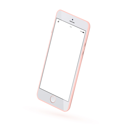 Vector Realistic perspective smartphone mockup isolated. Realistic smartphone mock up. 3d Perspective view of high detailed smartphone. Vector pink modern smartphone mockup.