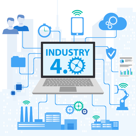 Industrial internet or industry 4.0 infographic. Vector illustration. Industrial 4.0 Cyber Physical Systems concept ,Infographic Icons of industry 4.0 Ilustração