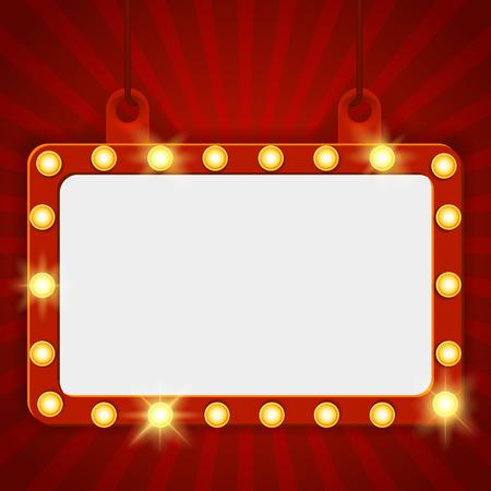 Bannière de fête brillante sur fond de rideau rouge. Enseigne lumineuse suspendue, panneau d'affichage de cinéma. Fond de panneau avec des lampes le long de la frontière pour la loterie, le casino, le poker, la roulette Illustration vectorielle Vecteurs